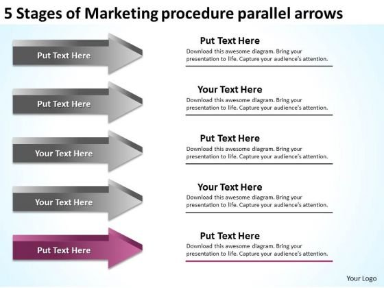 Stages Of Marketing Procedure Parallel Arrows Ppt Business Action - marketing action plan template