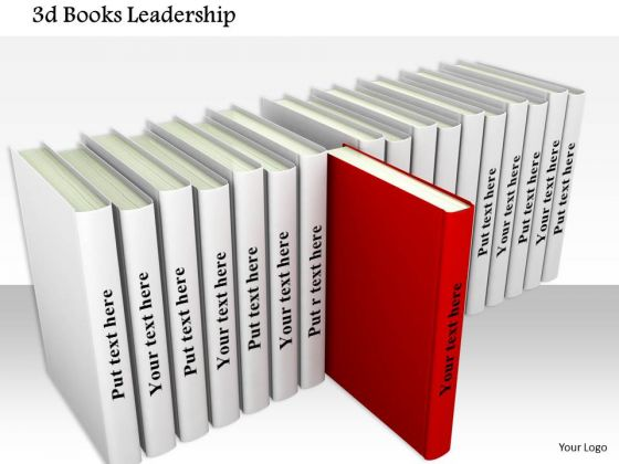Stock Photo 3d Books With One Red Book Out Shows Leadership - powerpoint books