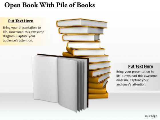 Stock Photo Open Book With Pile Of Books PowerPoint Template