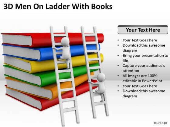Successful Business People 3d Men On Ladder With Books PowerPoint