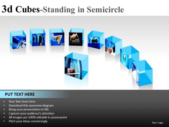 Surface 3d Cube Standing In Semicircle PowerPoint Slides And Ppt