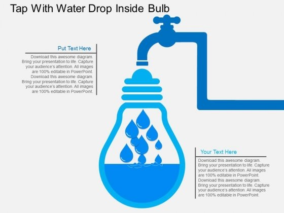 Tap With Water Drop Inside Bulb Powerpoint Template - PowerPoint