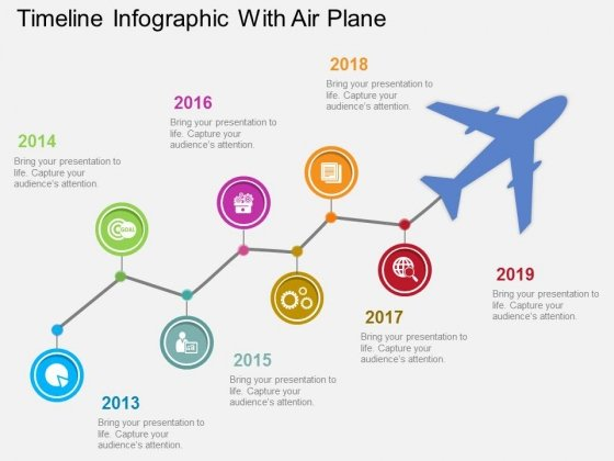 Timeline Infographic With Air Plane Powerpoint Template - PowerPoint - powerpoint timeline