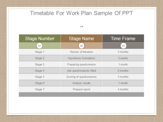 Timetable For Work Plan Sample Of Ppt - PowerPoint Templates - sample work plan