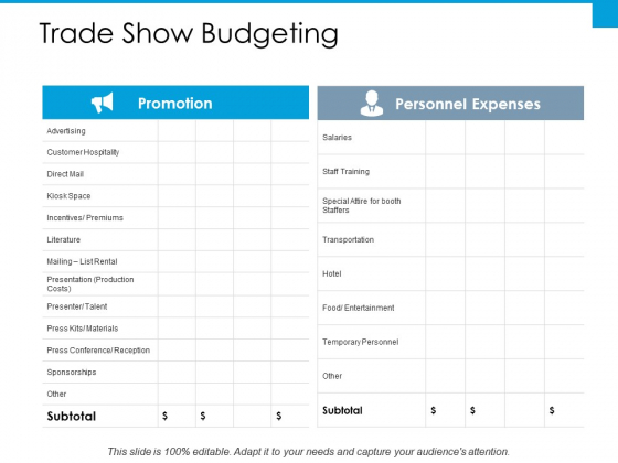 Trade Show Budgeting Slide Ppt PowerPoint Presentation Outline