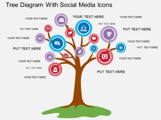 Tree Diagram With Social Media Icons Powerpoint Template