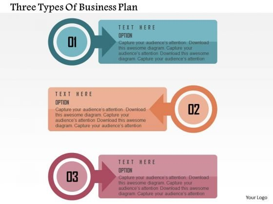 Three Types Of Business Plan Presentation Template - PowerPoint