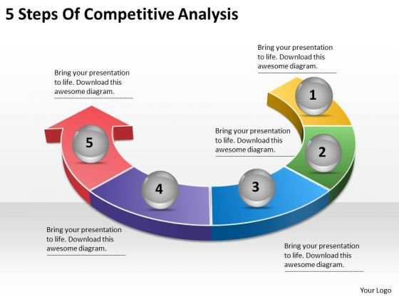 Timeline Ppt Template 5 Steps Of Competitive Analysis - PowerPoint