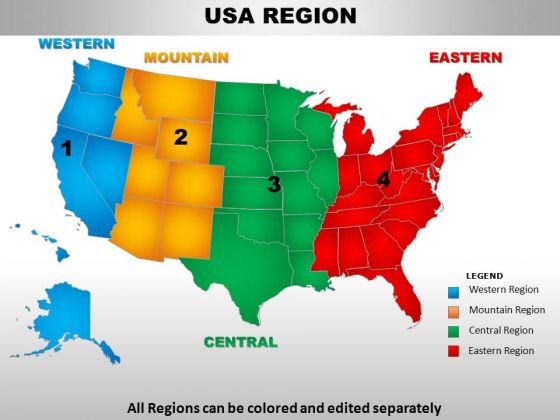Editable usa midwest region ppt map PowerPoint templates, Slides and
