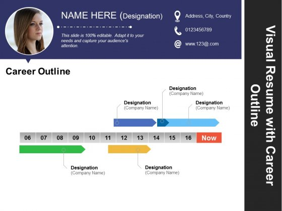 Visual Resume With Career Outline Ppt PowerPoint Presentation