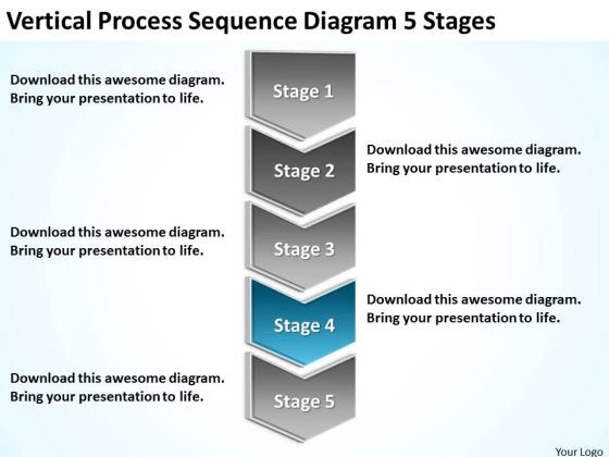 Vertical Process Sequence Diagram 5 Stages How To Develop Business