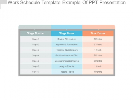 Work Schedule Template Example Of Ppt Presentation - PowerPoint