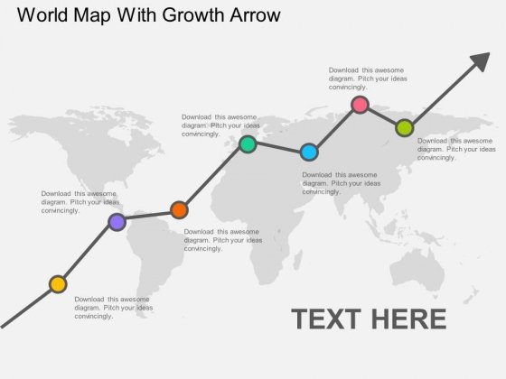 World Map With Growth Arrow Powerpoint Template - PowerPoint Templates