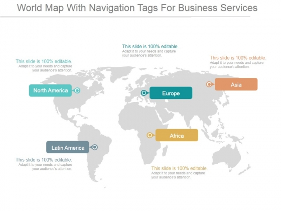 World Map With Navigation Tags For Business Services Ppt PowerPoint