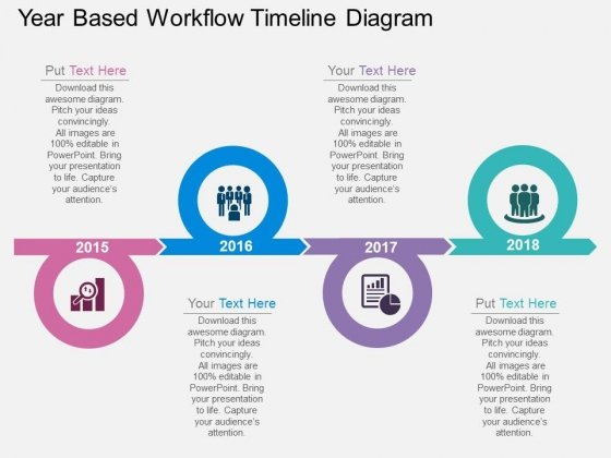 Year Based Workflow Timeline Diagram Powerpoint Template - medical timeline template