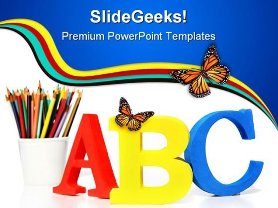 Alphabets Education PowerPoint Template 1010 - PowerPoint Themes