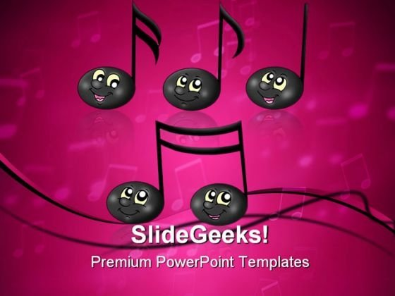 Cute Music Notes Entertainment PowerPoint Themes And PowerPoint