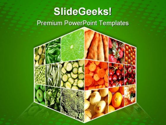 Food Cube Health PowerPoint Templates And PowerPoint Backgrounds