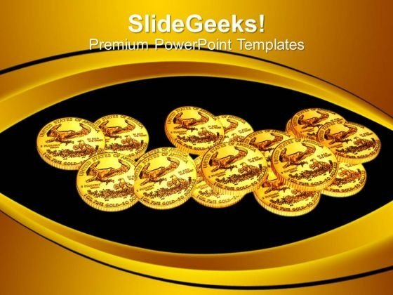 Gold Coins Over Black Background Financial PowerPoint Templates Ppt