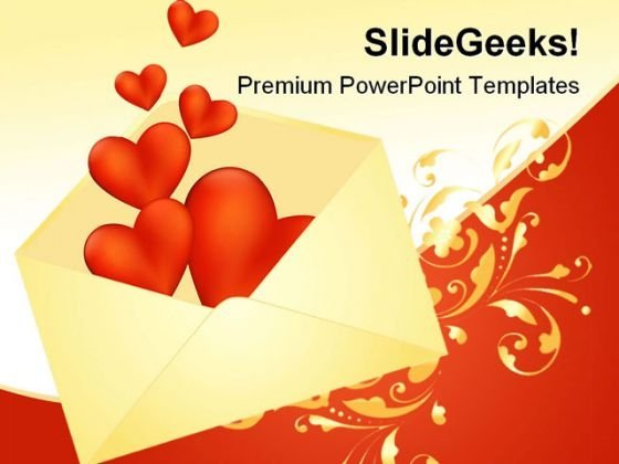 Heart Envelope Wedding PowerPoint Template 0610 - PowerPoint Themes