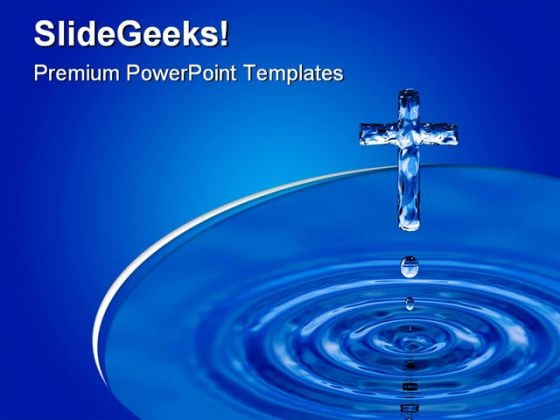 Holy Water Cross Religion PowerPoint Template 0610 - PowerPoint Themes
