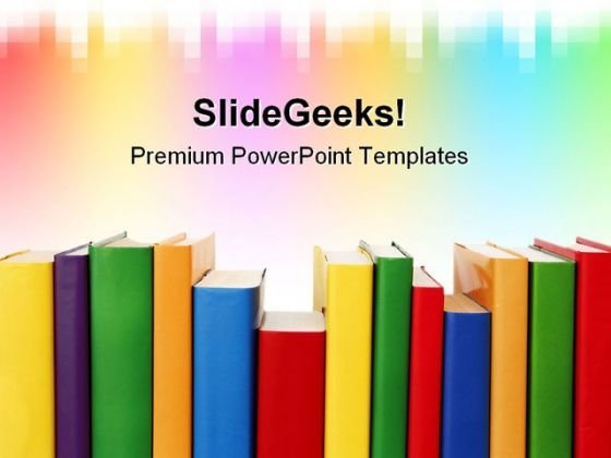 Many Colorful Books In A Row Education PowerPoint Templates And