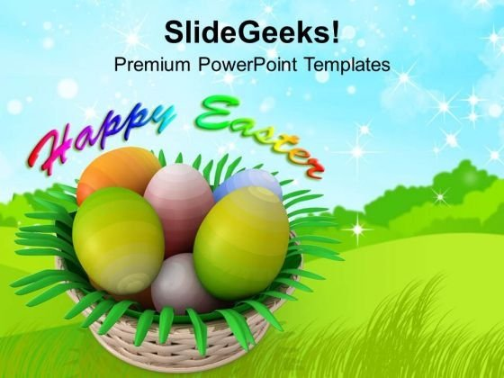 Painted Eggs In Basket Happy Easter PowerPoint Templates Ppt