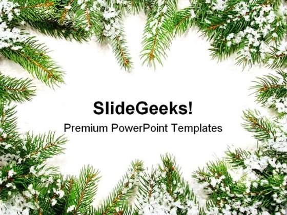 Pine Frame Christmas PowerPoint Background And Template 1210 - christmas powerpoint template