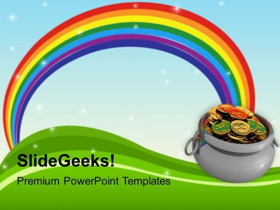 Rainbow And Pot Of Gold Coins Holiday PowerPoint Templates Ppt - rainbow powerpoint