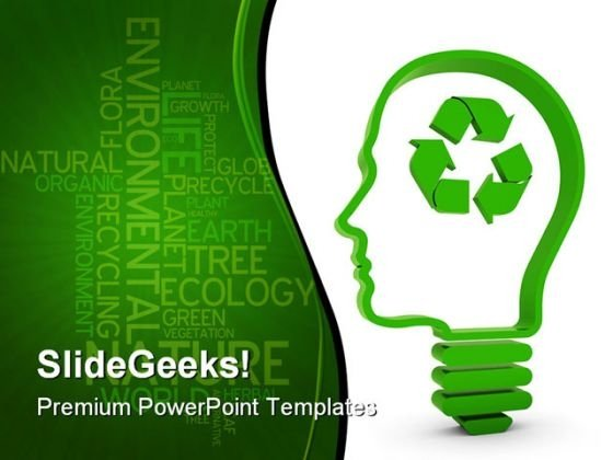 Recycling Brain Business PowerPoint Template 0810 - PowerPoint Themes - recycling powerpoint templates