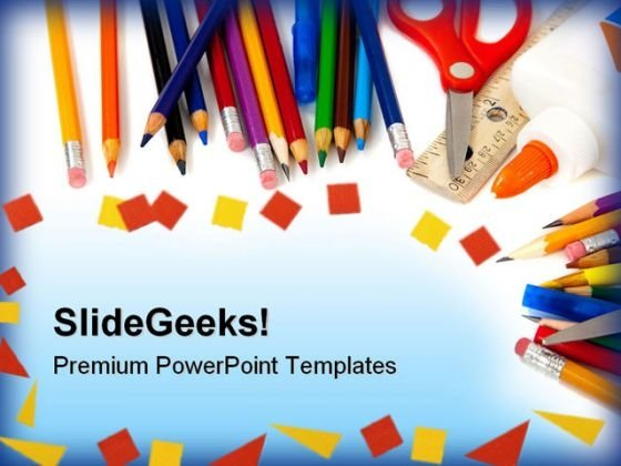 School Supplies Education PowerPoint Template 1010 - PowerPoint Themes