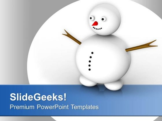 Snowman Celebration Happiness Winter PowerPoint Templates Ppt