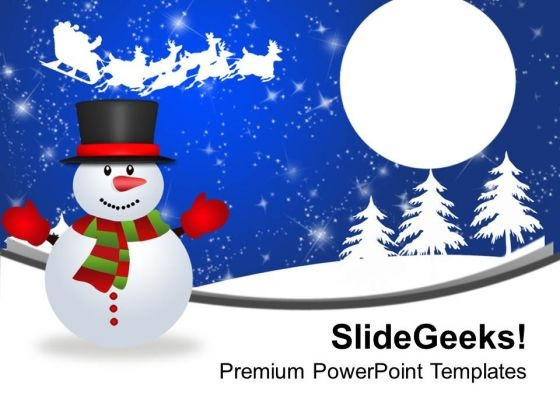 Snowman on winter PowerPoint templates, Slides and Graphics