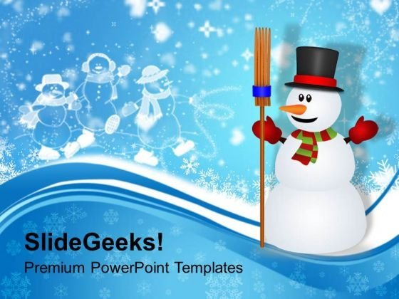Snowman With Broom On Winter Background Powerpoint Templates