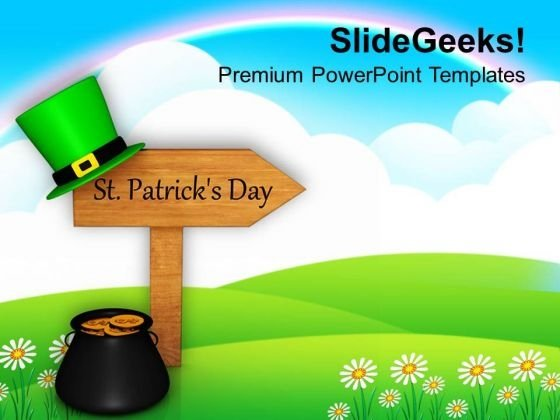 St Patricks Day Signpost Festival PowerPoint Templates Ppt