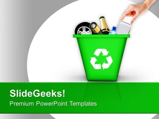 Throw Garbage Can Green Recycling PowerPoint Templates Ppt - recycling powerpoint templates