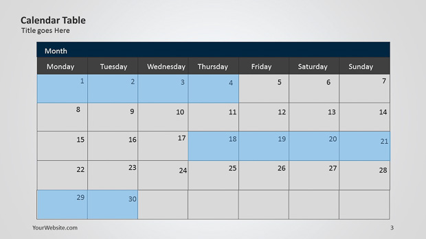 Light u2013 Page 2 u2013 Slide Ocean - powerpoint calendar template