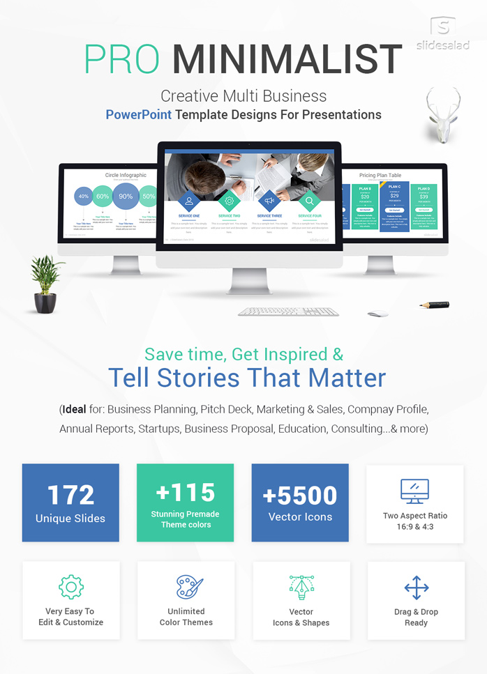 Pro Minimalist PowerPoint Template Designs - SlideSalad
