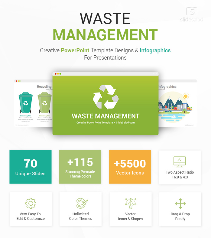 Waste Management PowerPoint Template Infographics - SlideSalad