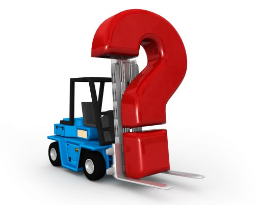 0115 Forklift Truck And Red Question Mark Stock Photo