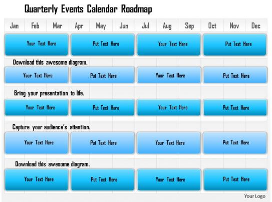 1114 Quarterly Events Calendar Roadmap Powerpoint Presentation - powerpoint calendar template