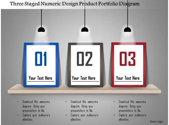 1214 Three Staged Numeric Design Product Portfolio Diagram