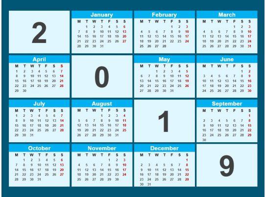 2019 Calendar Powerpoint Template PowerPoint Presentation Designs
