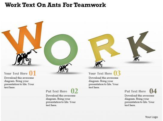 Ar Work Text On Ants For Teamwork Powerpoint Template PowerPoint