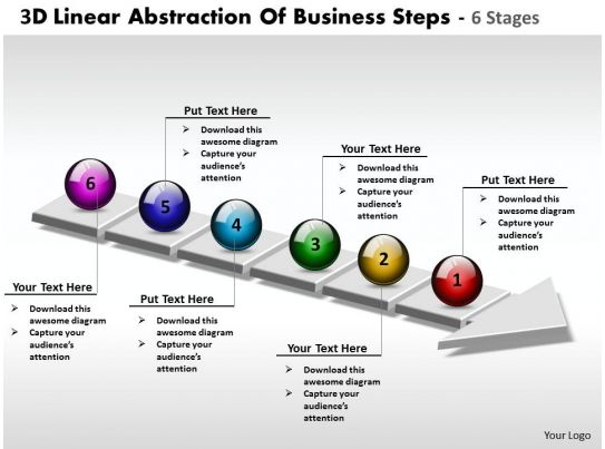 Business PowerPoint Templates 3d linear abstraction of steps 6