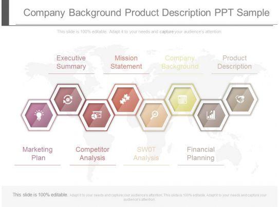 company background product description ppt sample Slide01