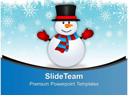 Cute Snowman On Snowy Background PowerPoint Templates PPT Themes And