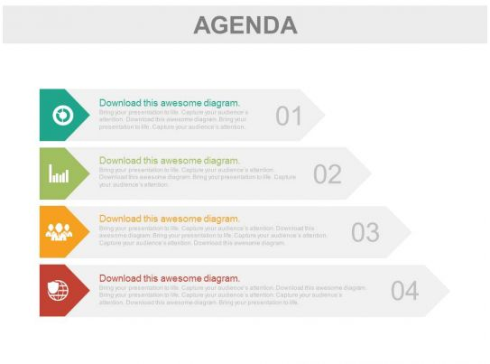 Four Tags For Business Agenda Representation Powerpoint Slides