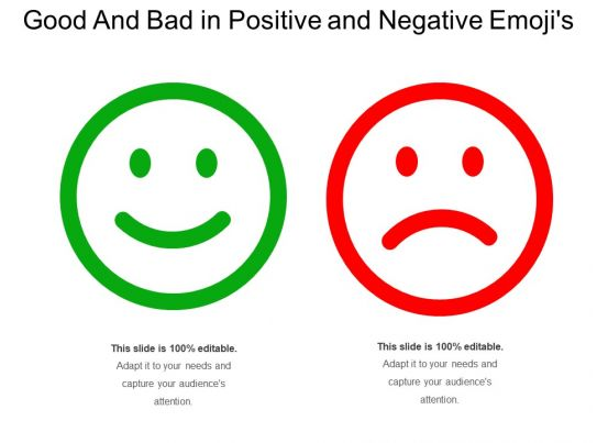 Good And Bad In Positive And Negative Emojis PowerPoint