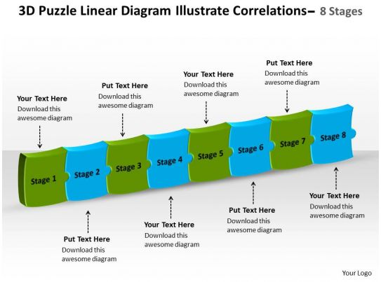 Linear Diagram Illustrate Correlations 8 Stages Process Flow Chart